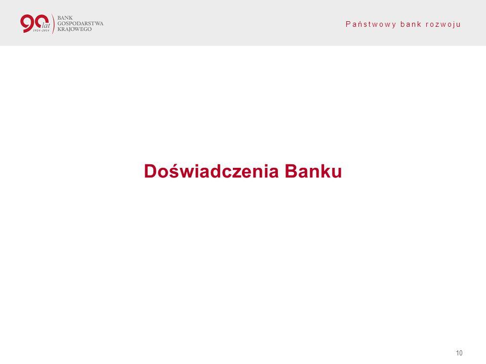 Państwowy bank rozwoju Doświadczenia Banku 10