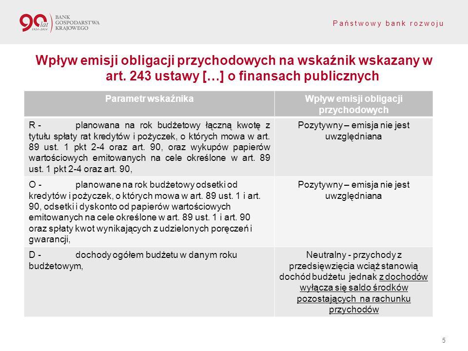 Państwowy bank rozwoju Wpływ emisji obligacji przychodowych na wskaźnik wskazany w art. 243 ustawy […] o finansach publicznych 5 Parametr wskaźnikaWpł