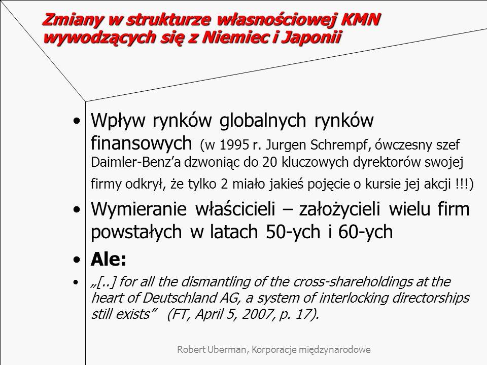 Robert Uberman, Korporacje międzynarodowe Zmiany w strukturze własnościowej KMN wywodzących się z Niemiec i Japonii Wpływ rynków globalnych rynków fin