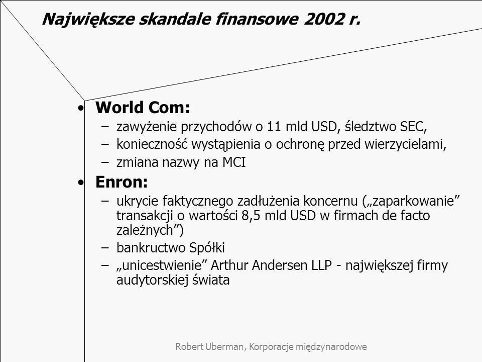Robert Uberman, Korporacje międzynarodowe Największe skandale finansowe 2002 r. World Com: –zawyżenie przychodów o 11 mld USD, śledztwo SEC, –konieczn