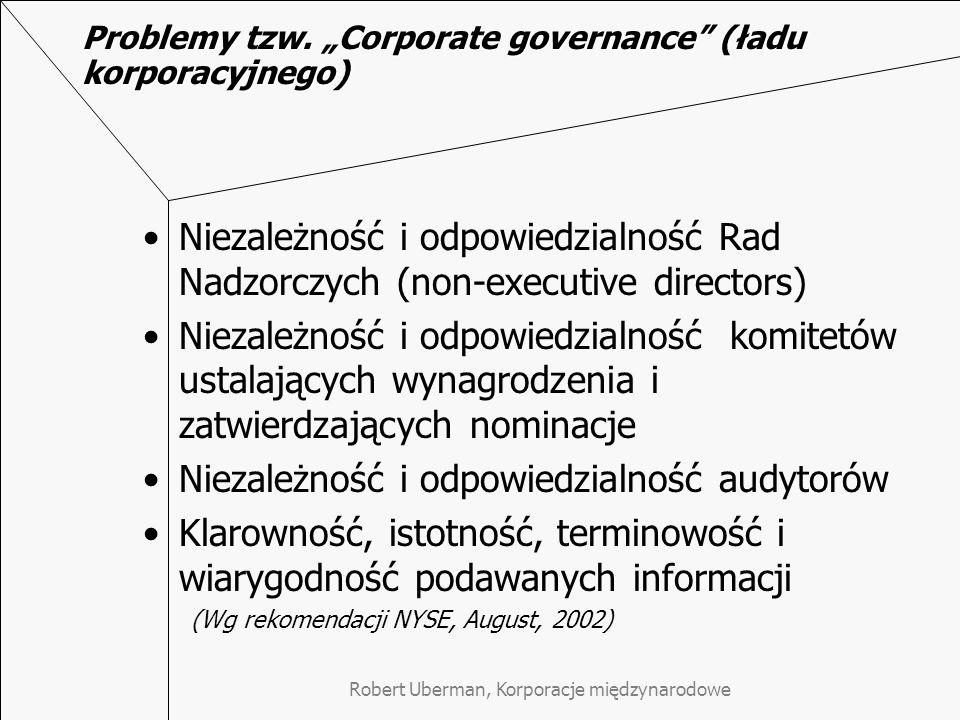 """Robert Uberman, Korporacje międzynarodowe Problemy tzw. """"Corporate governance"""" (ładu korporacyjnego) Niezależność i odpowiedzialność Rad Nadzorczych ("""