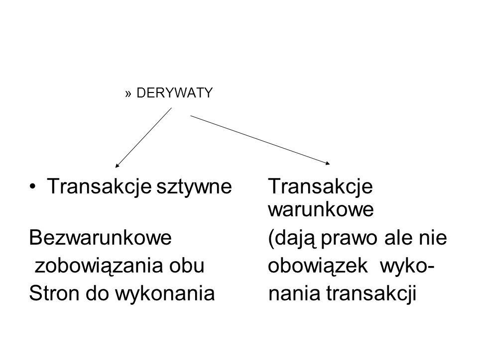 »DERYWATY Transakcje sztywneTransakcje warunkowe Bezwarunkowe(dają prawo ale nie zobowiązania obuobowiązek wyko- Stron do wykonania nania transakcji