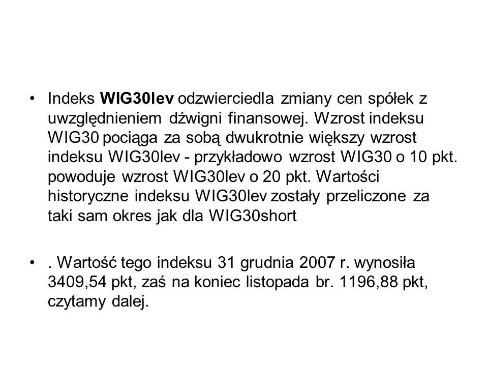 Indeks WIG30lev odzwierciedla zmiany cen spółek z uwzględnieniem dźwigni finansowej. Wzrost indeksu WIG30 pociąga za sobą dwukrotnie większy wzrost in