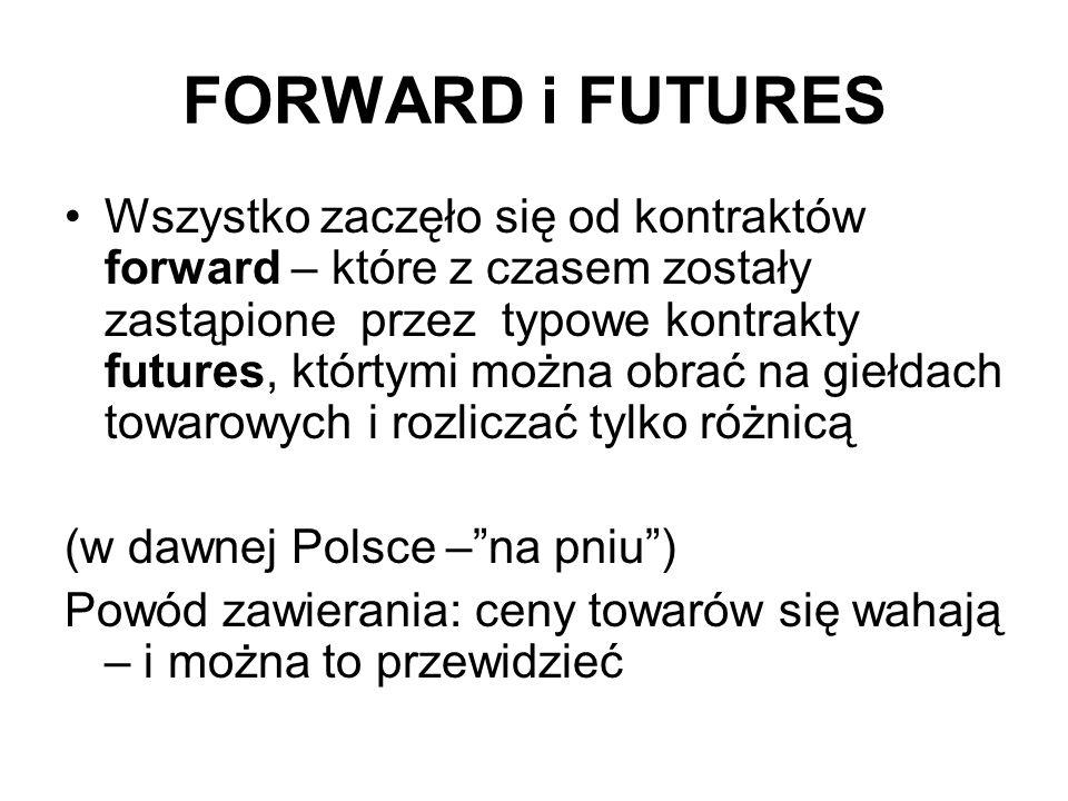 FORWARD i FUTURES Wszystko zaczęło się od kontraktów forward – które z czasem zostały zastąpione przez typowe kontrakty futures, którtymi można obrać