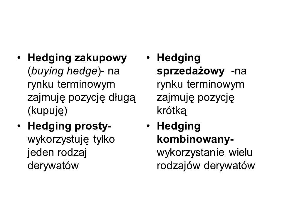 Hedging zakupowy (buying hedge)- na rynku terminowym zajmuję pozycję długą (kupuję) Hedging prosty- wykorzystuję tylko jeden rodzaj derywatów Hedging