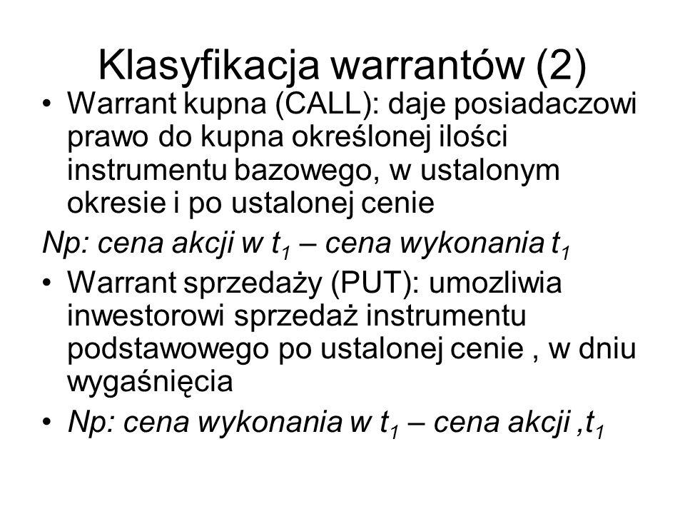 Klasyfikacja warrantów (2) Warrant kupna (CALL): daje posiadaczowi prawo do kupna określonej ilości instrumentu bazowego, w ustalonym okresie i po ust