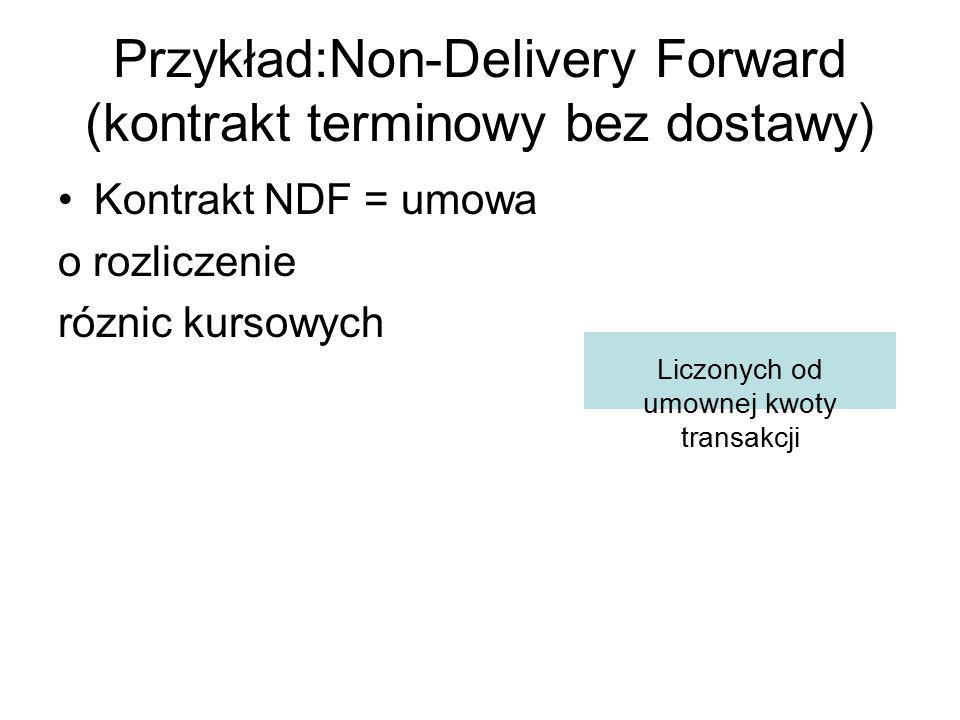 Przykład:Non-Delivery Forward (kontrakt terminowy bez dostawy) Kontrakt NDF = umowa o rozliczenie róznic kursowych Liczonych od umownej kwoty transakc