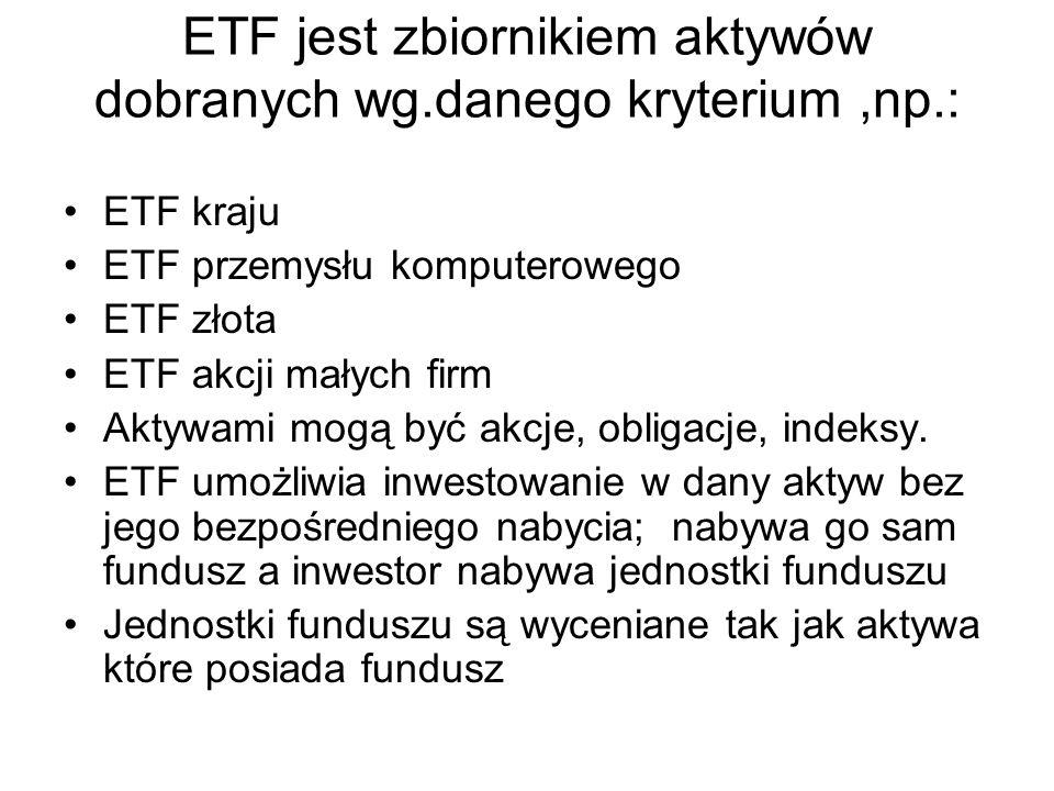 ETF jest zbiornikiem aktywów dobranych wg.danego kryterium,np.: ETF kraju ETF przemysłu komputerowego ETF złota ETF akcji małych firm Aktywami mogą by
