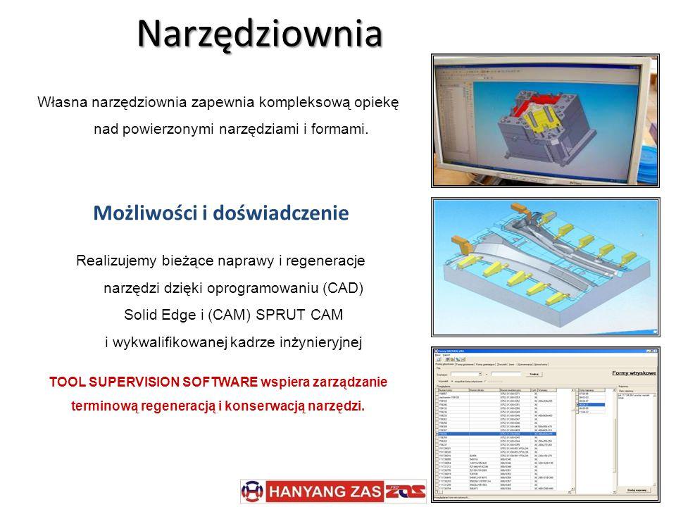 Możliwości i doświadczenie Realizujemy bieżące naprawy i regeneracje narzędzi dzięki oprogramowaniu (CAD) Solid Edge i (CAM) SPRUT CAM i wykwalifikowanej kadrze inżynieryjnej Narzędziownia TOOL SUPERVISION SOFTWARE wspiera zarządzanie terminową regeneracją i konserwacją narzędzi.