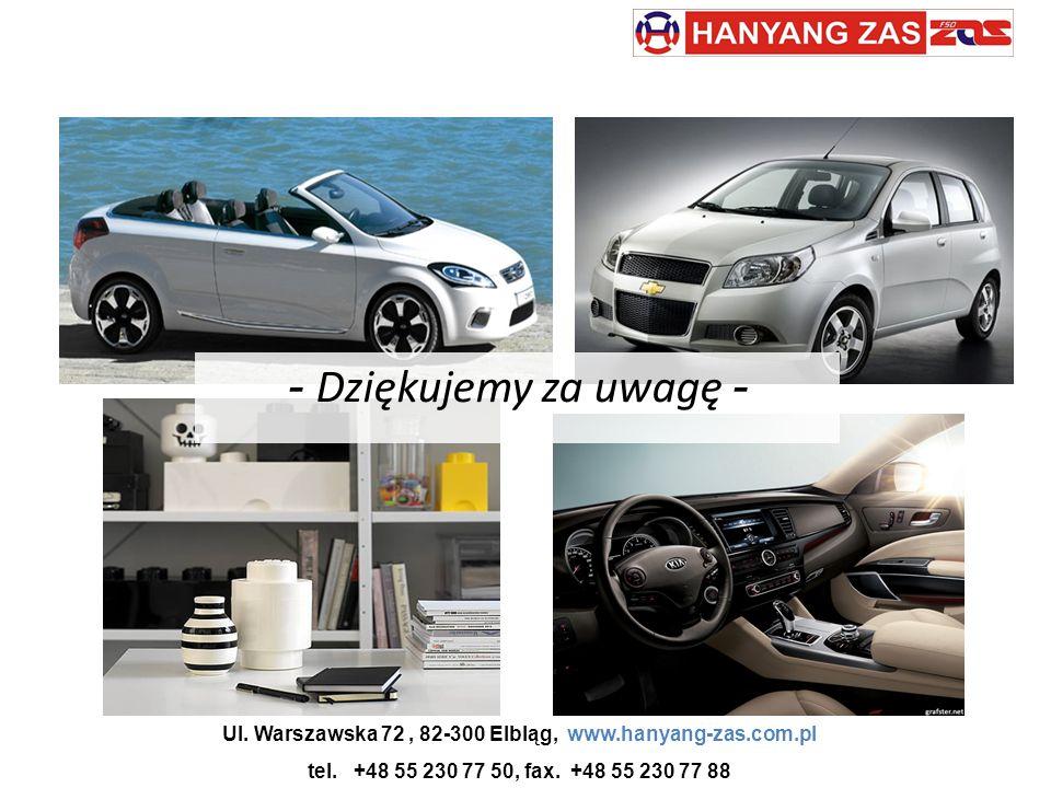 Ul. Warszawska 72, 82-300 Elbląg, www.hanyang-zas.com.pl tel. +48 55 230 77 50, fax. +48 55 230 77 88 - Dziękujemy za uwagę -