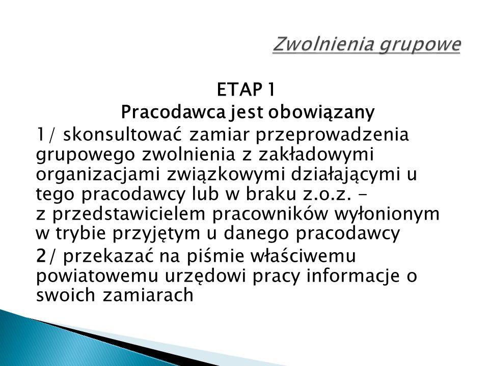 ETAP 1 Pracodawca jest obowiązany 1/ skonsultować zamiar przeprowadzenia grupowego zwolnienia z zakładowymi organizacjami związkowymi działającymi u tego pracodawcy lub w braku z.o.z.
