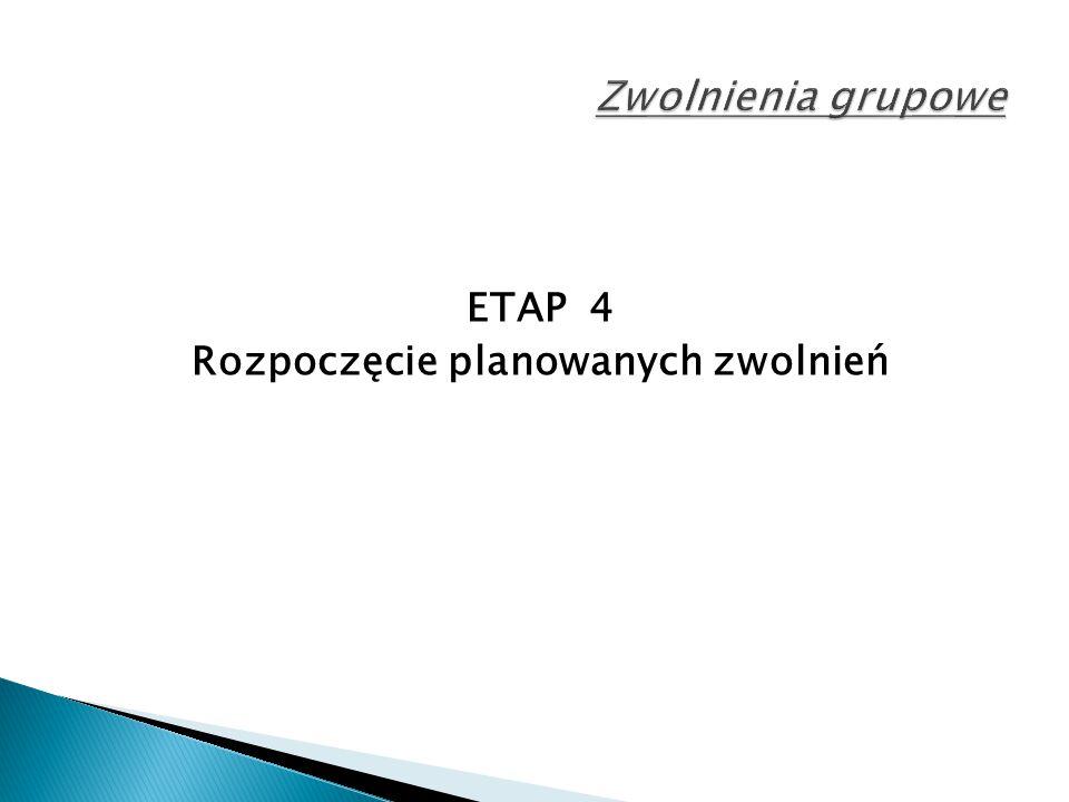 ETAP 4 Rozpoczęcie planowanych zwolnień