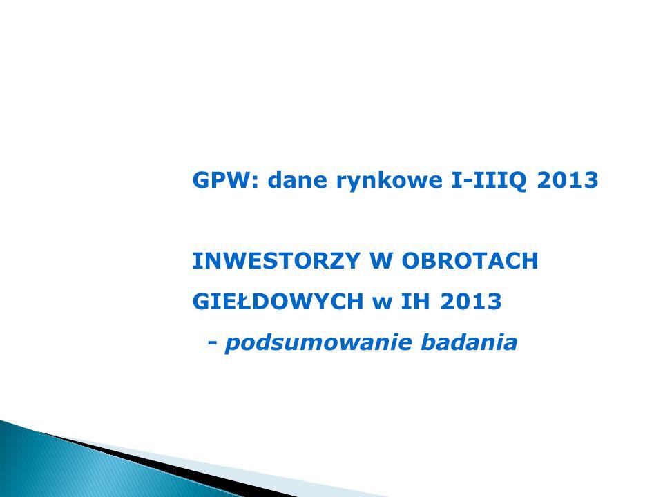 GPW: dane rynkowe I-IIIQ 2013 INWESTORZY W OBROTACH GIEŁDOWYCH w IH 2013 - podsumowanie badania