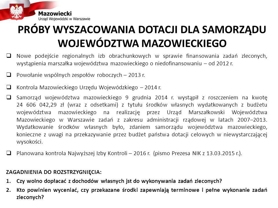  Nowe podejście regionalnych izb obrachunkowych w sprawie finansowania zadań zleconych, wystąpienia marszałka województwa mazowieckiego o niedofinans