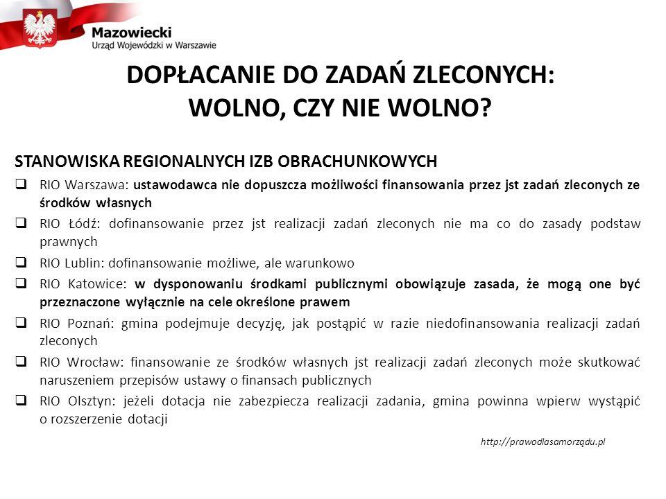 DOPŁACANIE DO ZADAŃ ZLECONYCH: WOLNO, CZY NIE WOLNO? STANOWISKA REGIONALNYCH IZB OBRACHUNKOWYCH  RIO Warszawa: ustawodawca nie dopuszcza możliwości f