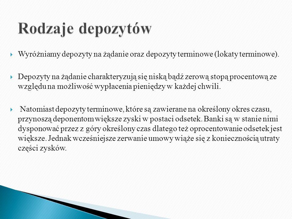  Wyróżniamy depozyty na żądanie oraz depozyty terminowe (lokaty terminowe).
