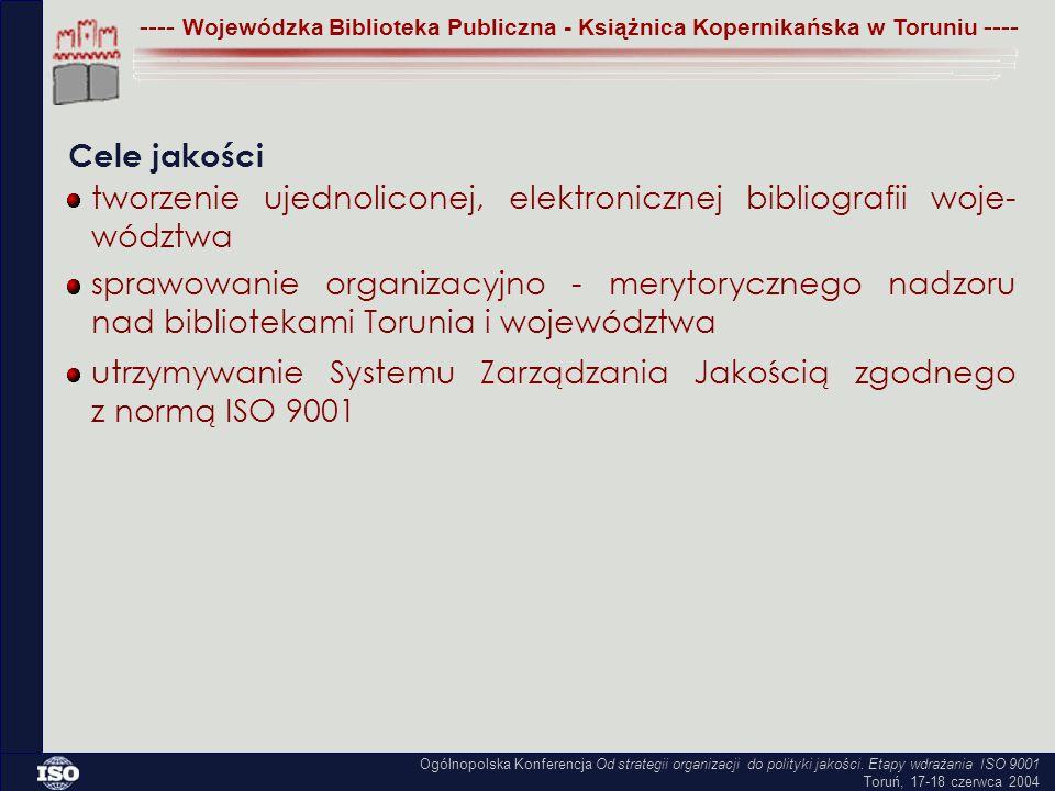---- Wojewódzka Biblioteka Publiczna - Książnica Kopernikańska w Toruniu ---- Cele jakości tworzenie ujednoliconej, elektronicznej bibliografii woje- wództwa sprawowanie organizacyjno - merytorycznego nadzoru nad bibliotekami Torunia i województwa utrzymywanie Systemu Zarządzania Jakością zgodnego z normą ISO 9001 Ogólnopolska Konferencja Od strategii organizacji do polityki jakości.