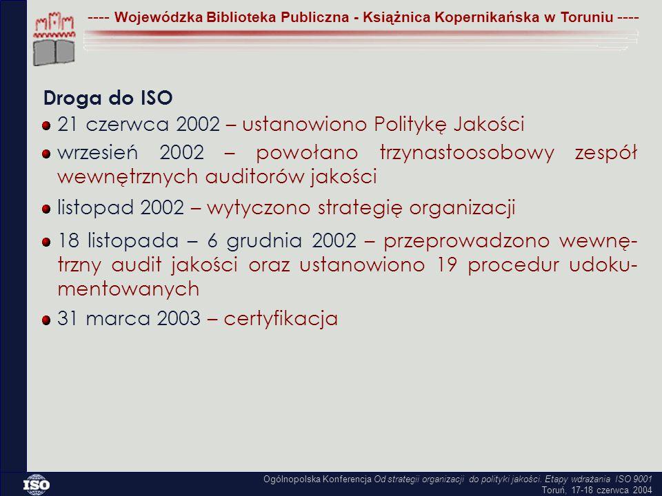 21 czerwca 2002 – ustanowiono Politykę Jakości listopad 2002 – wytyczono strategię organizacji ---- Wojewódzka Biblioteka Publiczna - Książnica Kopernikańska w Toruniu ---- wrzesień 2002 – powołano trzynastoosobowy zespół wewnętrznych auditorów jakości 18 listopada – 6 grudnia 2002 – przeprowadzono wewnę- trzny audit jakości oraz ustanowiono 19 procedur udoku- mentowanych 31 marca 2003 – certyfikacja Ogólnopolska Konferencja Od strategii organizacji do polityki jakości.