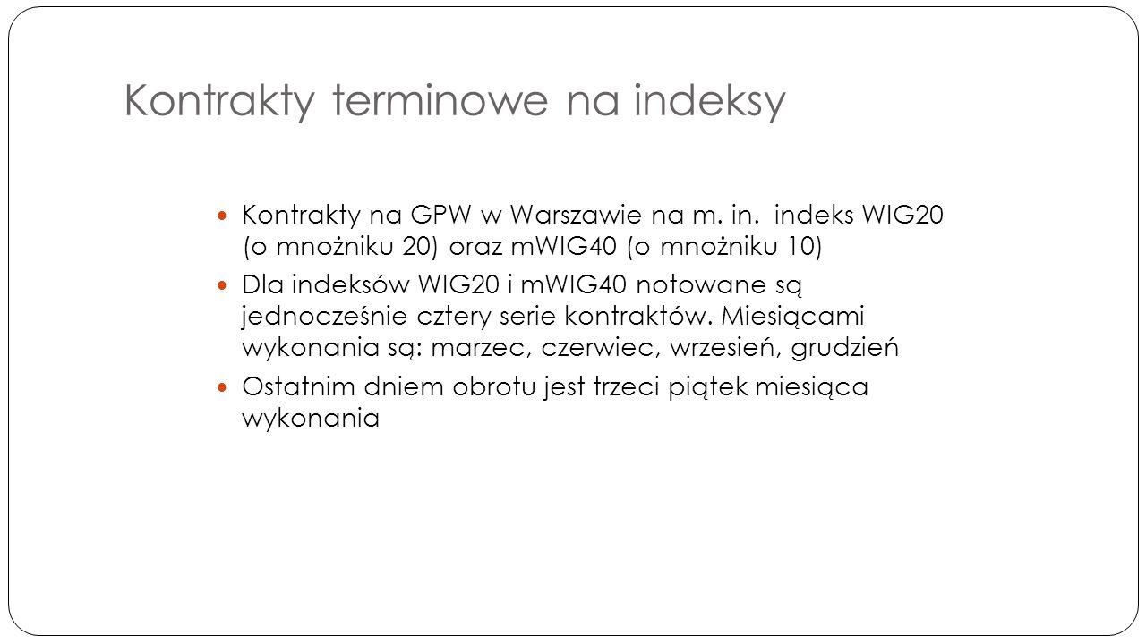 Kontrakty terminowe na indeksy Kontrakty na GPW w Warszawie na m.