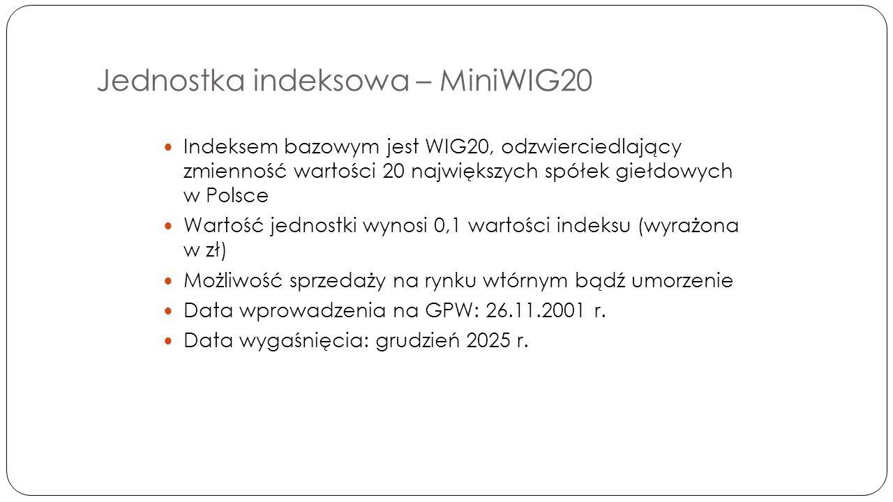 Jednostka indeksowa – MiniWIG20 Indeksem bazowym jest WIG20, odzwierciedlający zmienność wartości 20 największych spółek giełdowych w Polsce Wartość jednostki wynosi 0,1 wartości indeksu (wyrażona w zł) Możliwość sprzedaży na rynku wtórnym bądź umorzenie Data wprowadzenia na GPW: 26.11.2001 r.