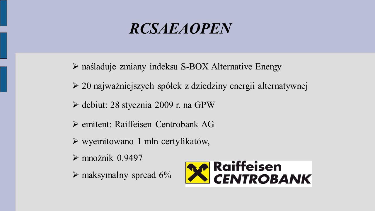 RCSAEAOPEN  naśladuje zmiany indeksu S-BOX Alternative Energy  20 najważniejszych spółek z dziedziny energii alternatywnej  debiut: 28 stycznia 2009 r.