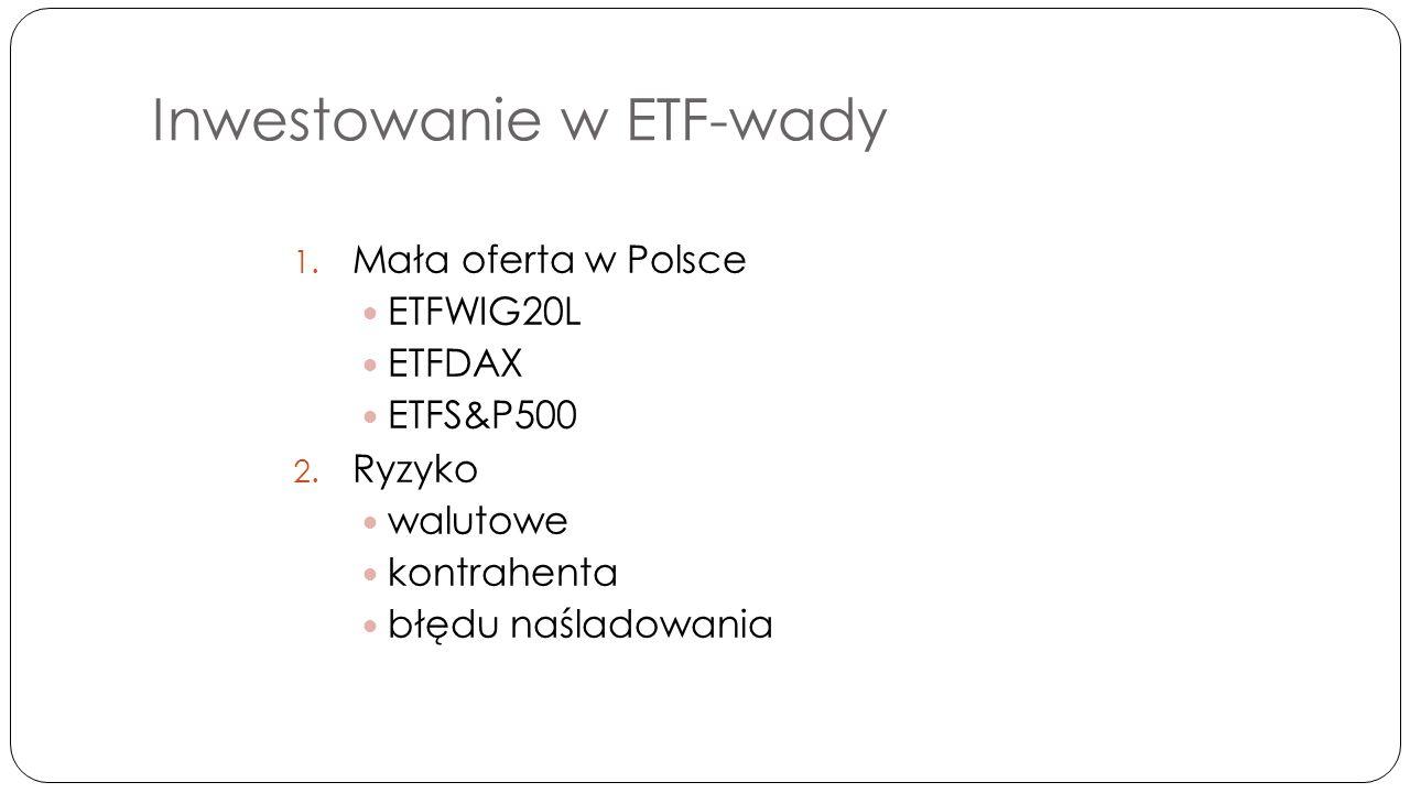 ETF na świecie Debiut w 1990 roku w Torronto Dominacja funduszy akcyjnych (82,2%) Funkcjonowanie 3 581 funduszy typu ETF Łączna wartość około 1,5 bln USD Dostępne na 59 giełdach na całym świecie Ponad 220 instytucji dostarczających funduszy, głównie: BlackRock, State Street Global Advisors, Vanguard oraz Power Shares