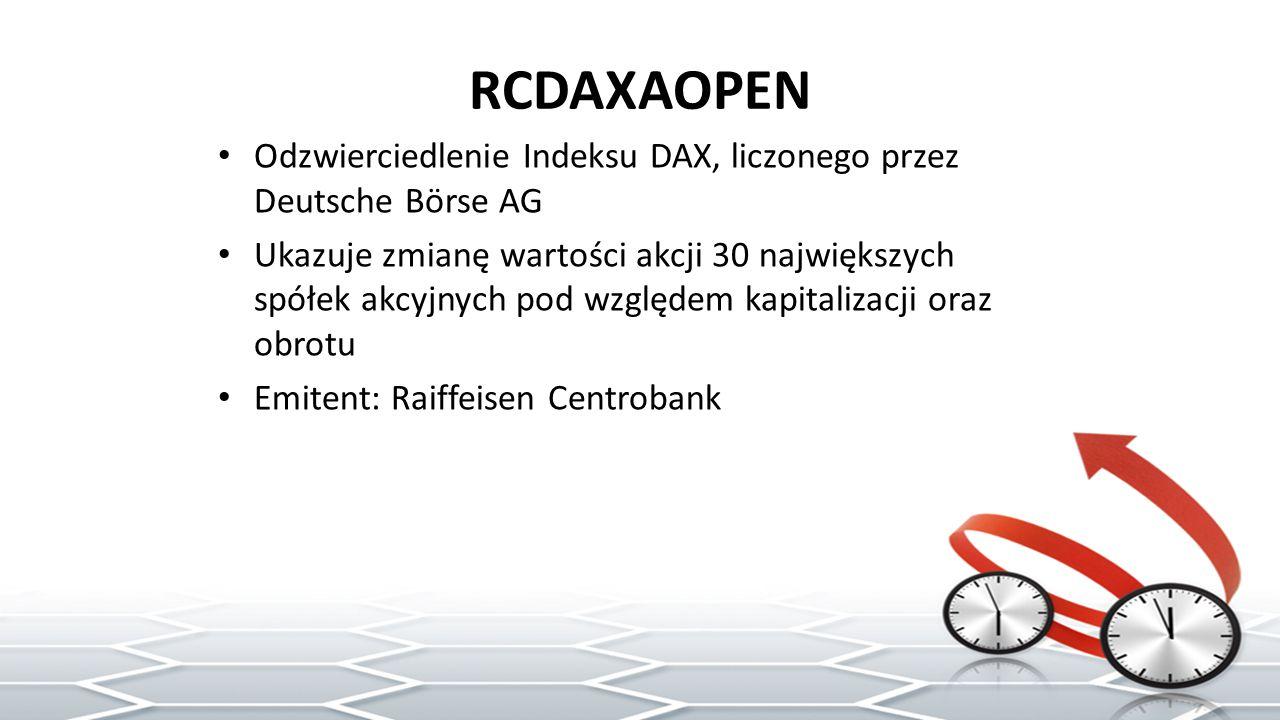 RCDAXAOPEN Odzwierciedlenie Indeksu DAX, liczonego przez Deutsche Börse AG Ukazuje zmianę wartości akcji 30 największych spółek akcyjnych pod względem kapitalizacji oraz obrotu Emitent: Raiffeisen Centrobank