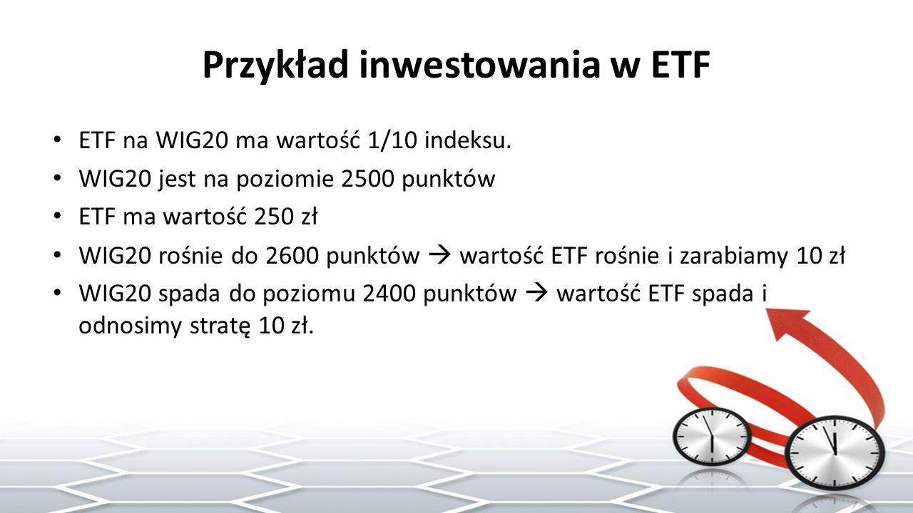 Przykład inwestowania w ETF ETF na WIG20 ma wartość 1/10 indeksu.