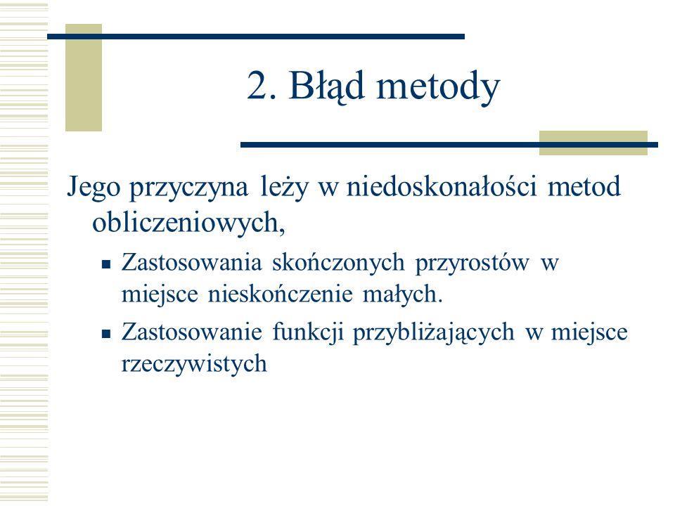 2. Błąd metody Jego przyczyna leży w niedoskonałości metod obliczeniowych, Zastosowania skończonych przyrostów w miejsce nieskończenie małych. Zastoso