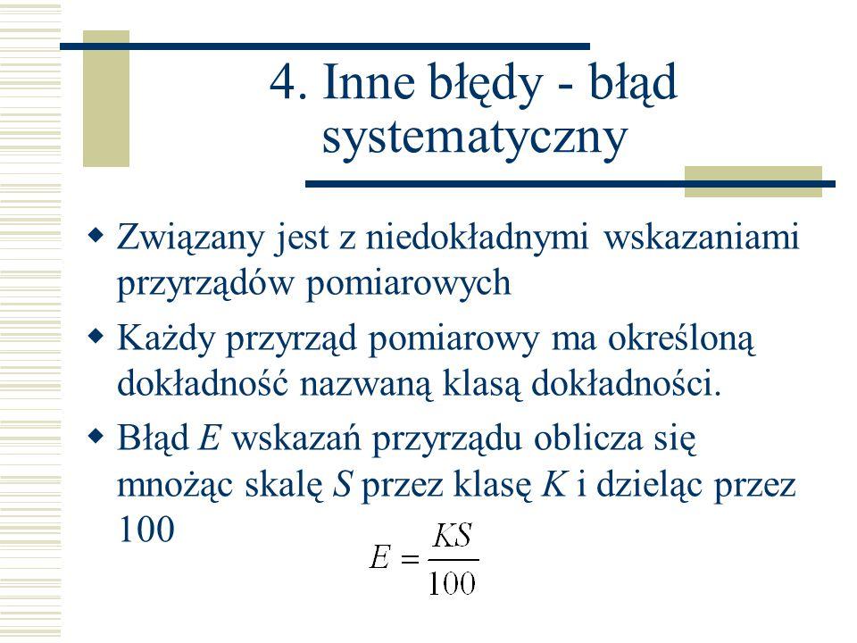  Związany jest z niedokładnymi wskazaniami przyrządów pomiarowych  Każdy przyrząd pomiarowy ma określoną dokładność nazwaną klasą dokładności.  Błą