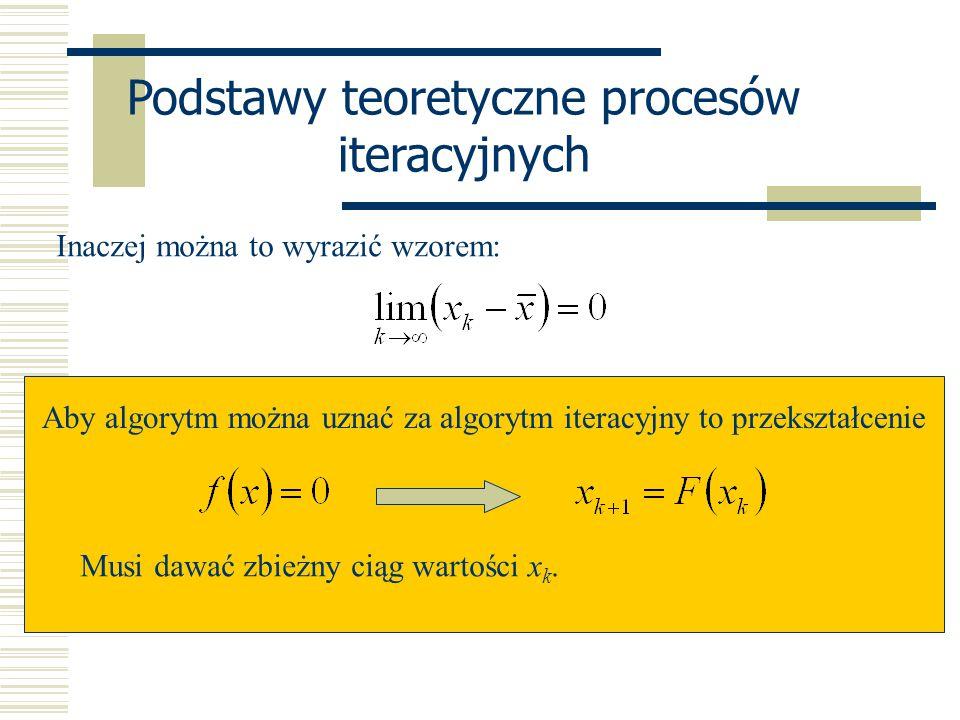 Podstawy teoretyczne procesów iteracyjnych Inaczej można to wyrazić wzorem: Aby algorytm można uznać za algorytm iteracyjny to przekształcenie Musi da