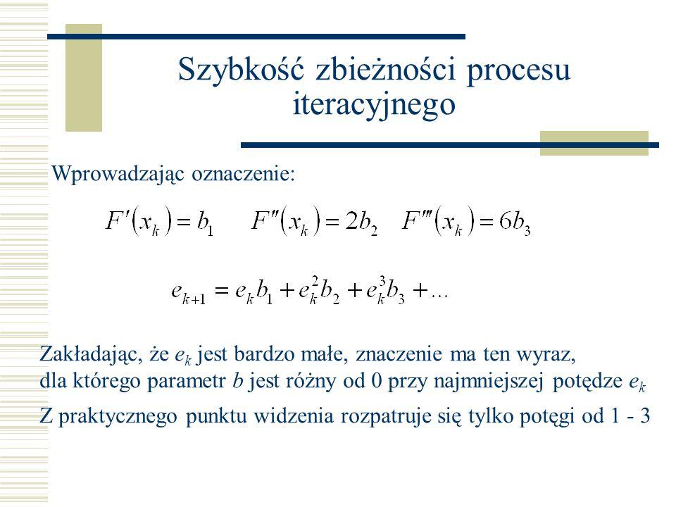 Szybkość zbieżności procesu iteracyjnego Wprowadzając oznaczenie: Zakładając, że e k jest bardzo małe, znaczenie ma ten wyraz, dla którego parametr b