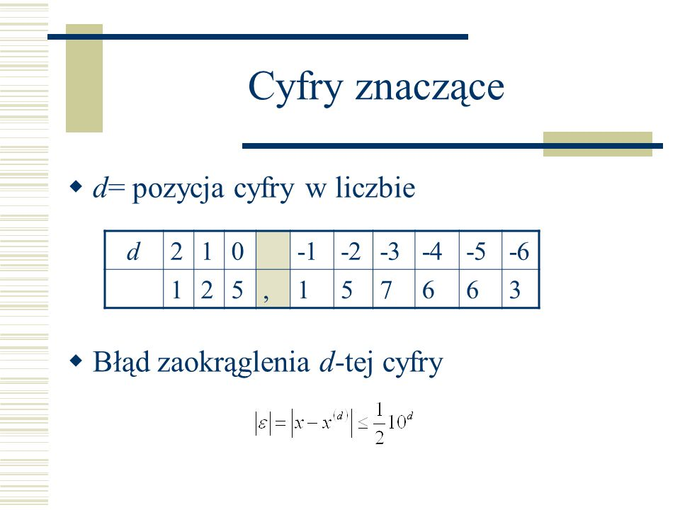 Cyfry znaczące  d= pozycja cyfry w liczbie  Błąd zaokrąglenia d-tej cyfry d210-2-3-4-5-6 125,157663