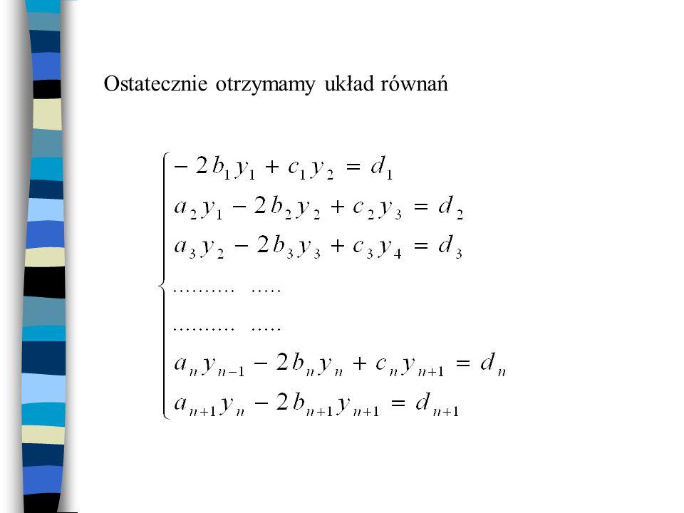 Ostatecznie otrzymamy układ równań
