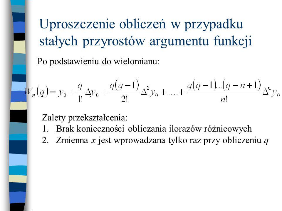 Uproszczenie obliczeń w przypadku stałych przyrostów argumentu funkcji Po podstawieniu do wielomianu: Zalety przekształcenia: 1.Brak konieczności obli