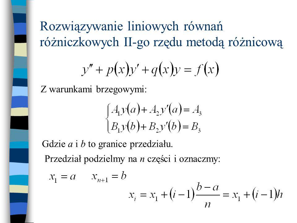 Rozwiązywanie liniowych równań różniczkowych II-go rzędu metodą różnicową Z warunkami brzegowymi: Gdzie a i b to granice przedziału. Przedział podziel