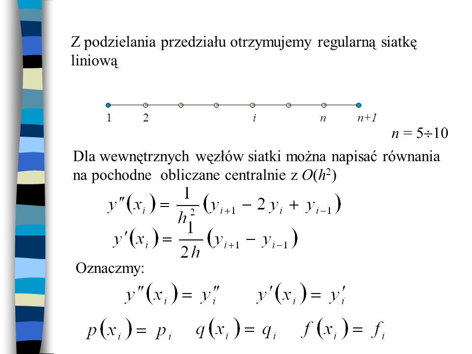 Z podzielania przedziału otrzymujemy regularną siatkę liniową 12inn+1 Dla wewnętrznych węzłów siatki można napisać równania na pochodne obliczane cent
