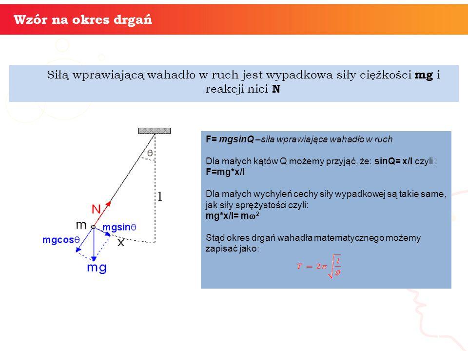 Siłą wprawiającą wahadło w ruch jest wypadkowa siły ciężkości mg i reakcji nici N informatyka + 5 Wzór na okres drgań F= mgsinQ –siła wprawiająca wahadło w ruch Dla małych kątów Q możemy przyjąć, że: sinQ= x/l czyli : F=mg*x/l Dla małych wychyleń cechy siły wypadkowej są takie same, jak siły sprężystości czyli: mg*x/l= m  2 Stąd okres drgań wahadła matematycznego możemy zapisać jako: