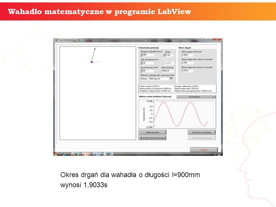 informatyka + 7 Wahadło matematyczne w programie LabView Okres drgań dla wahadła o długości l=900mm wynosi 1,9033s
