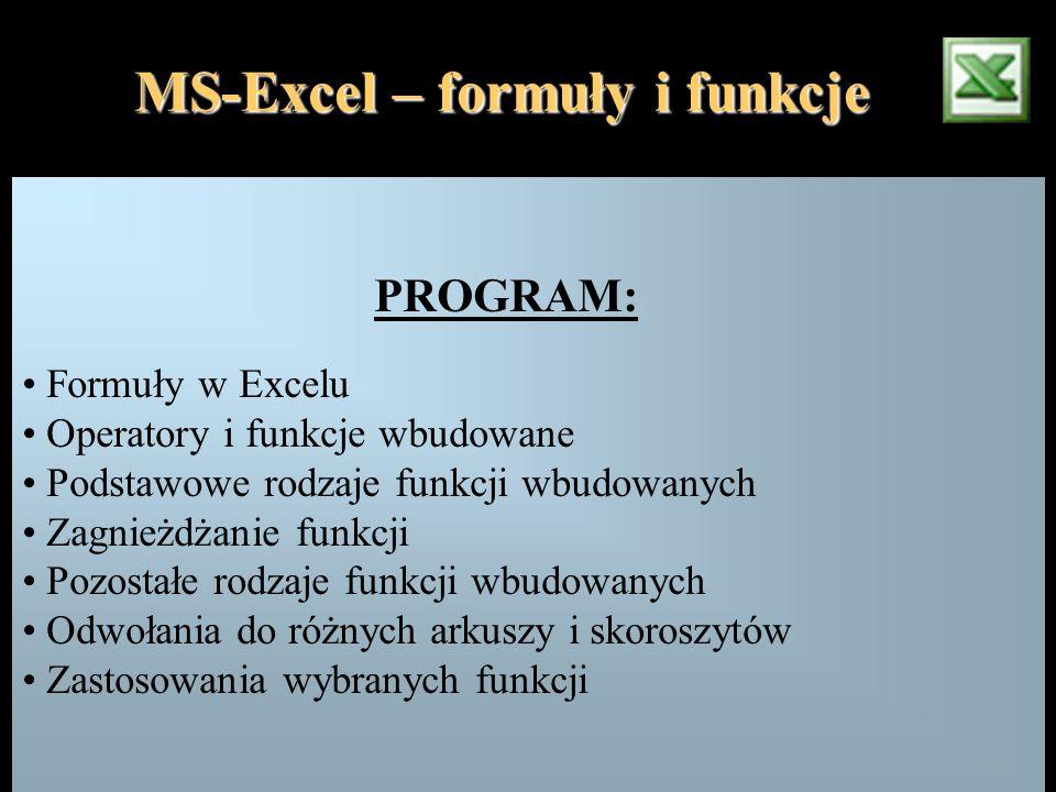 PROGRAM: Formuły w Excelu Operatory i funkcje wbudowane Podstawowe rodzaje funkcji wbudowanych Zagnieżdżanie funkcji Pozostałe rodzaje funkcji wbudowa