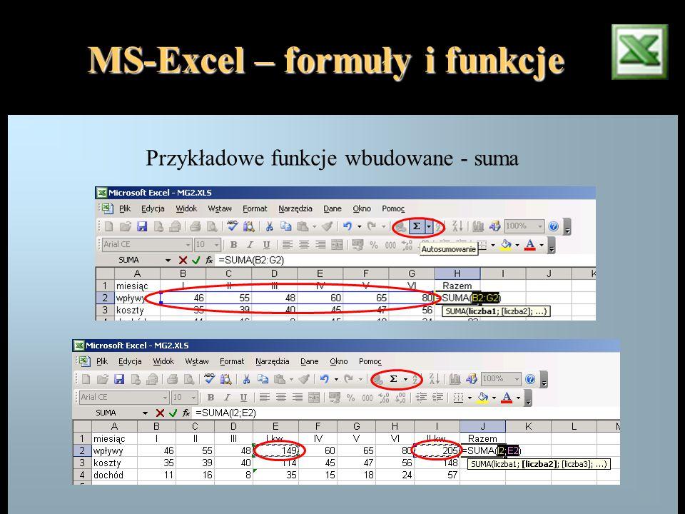 MS-Excel – formuły i funkcje Przykładowe funkcje wbudowane - suma