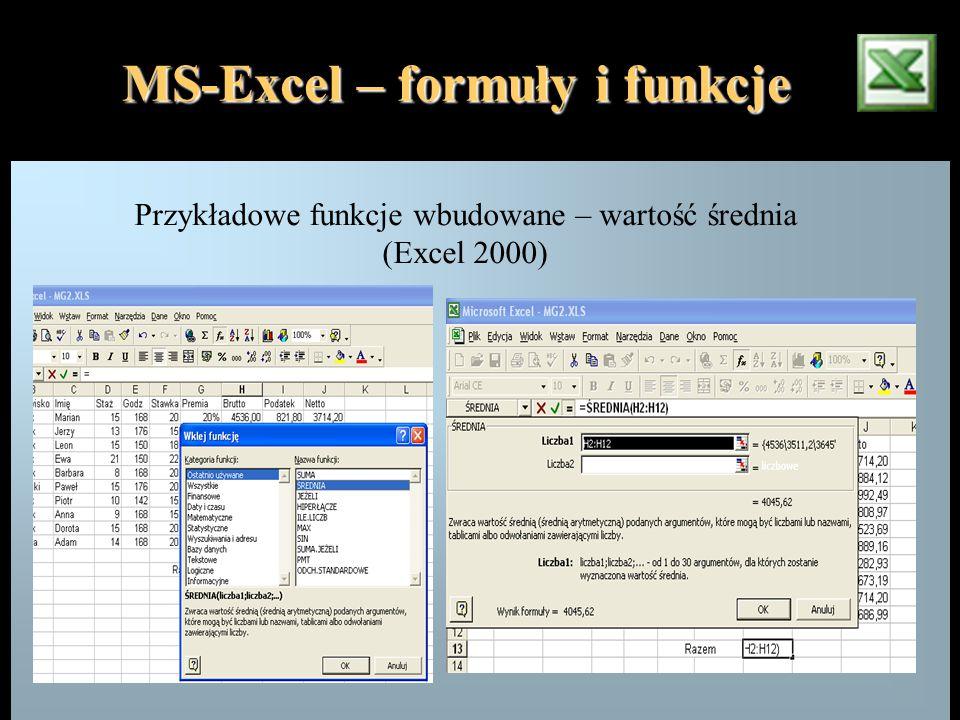 MS-Excel – formuły i funkcje Przykładowe funkcje wbudowane – wartość średnia (Excel 2000)
