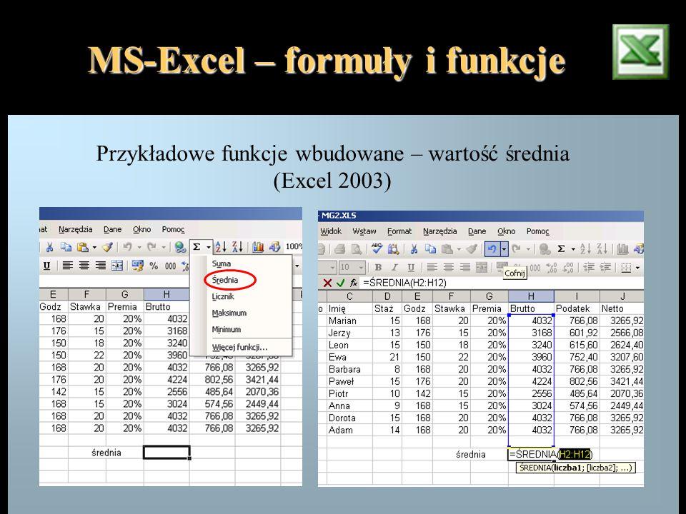 MS-Excel – formuły i funkcje Przykładowe funkcje wbudowane – wartość średnia (Excel 2003)