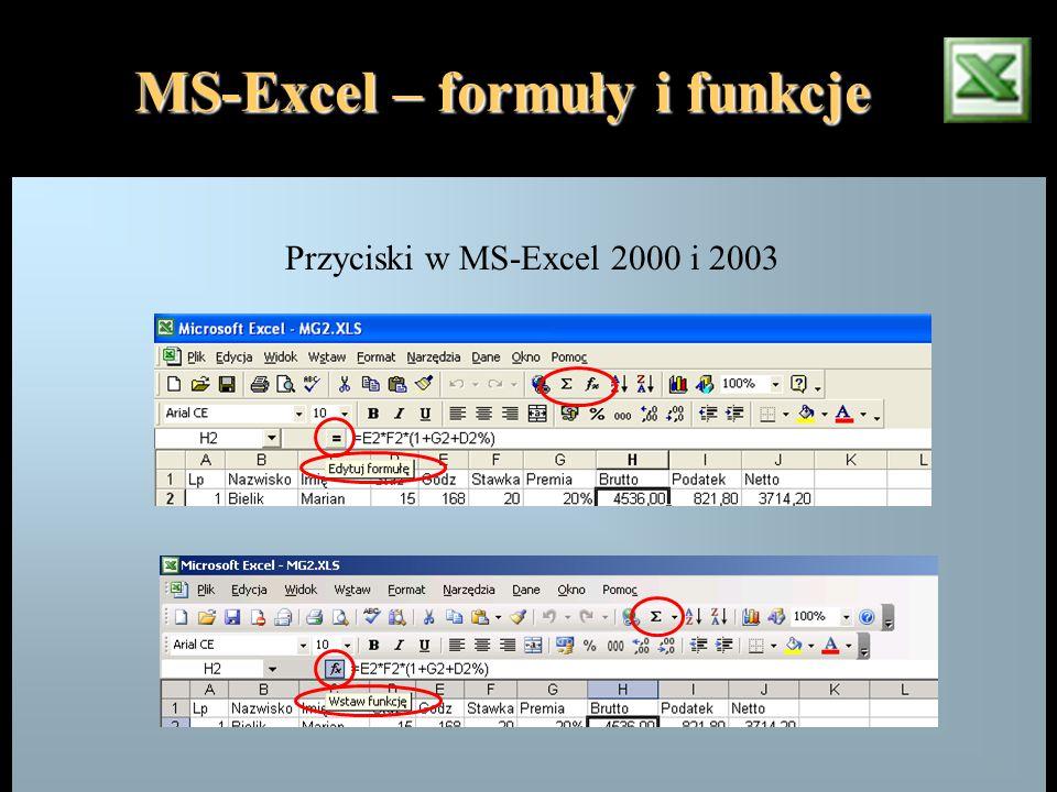 MS-Excel – formuły i funkcje Przyciski w MS-Excel 2000 i 2003