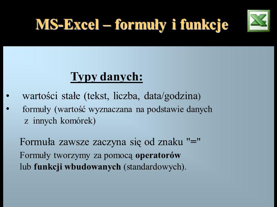 Typy danych: wartości stałe (tekst, liczba, data/godzina ) formuły (wartość wyznaczana na podstawie danych z innych komórek) Formuła zawsze zaczyna si