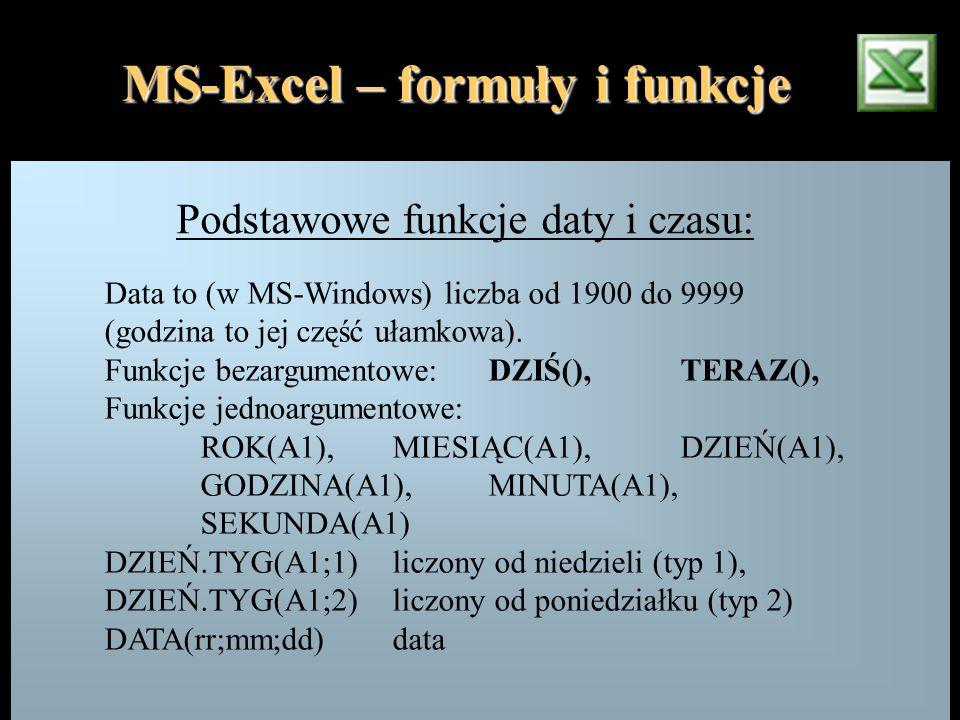 MS-Excel – formuły i funkcje Podstawowe funkcje daty i czasu: Data to (w MS-Windows) liczba od 1900 do 9999 (godzina to jej część ułamkowa). Funkcje b