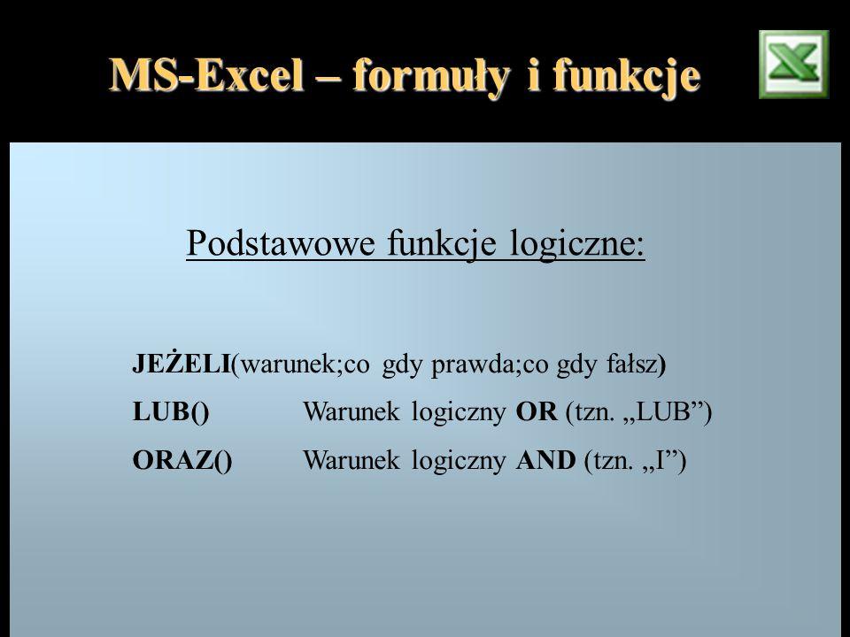 """MS-Excel – formuły i funkcje Podstawowe funkcje logiczne: JEŻELI(warunek;co gdy prawda;co gdy fałsz) LUB()Warunek logiczny OR (tzn. """"LUB"""") ORAZ()Warun"""
