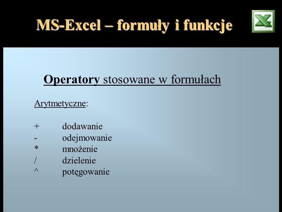 Operatory stosowane w formułach Arytmetyczne: +dodawanie - odejmowanie *mnożenie / dzielenie ^potęgowanie MS-Excel – formuły i funkcje