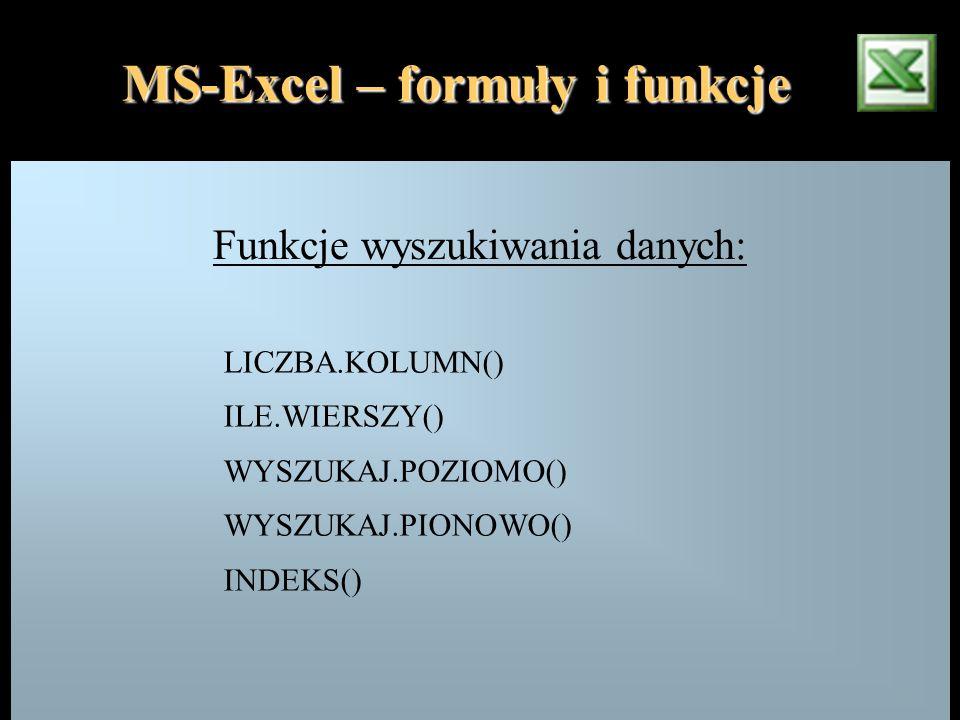 MS-Excel – formuły i funkcje Funkcje wyszukiwania danych: LICZBA.KOLUMN() ILE.WIERSZY() WYSZUKAJ.POZIOMO() WYSZUKAJ.PIONOWO() INDEKS()