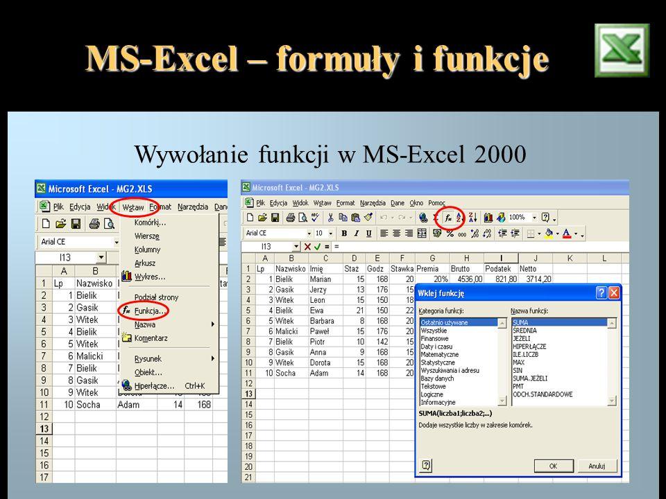 Wywołanie funkcji w MS-Excel 2000